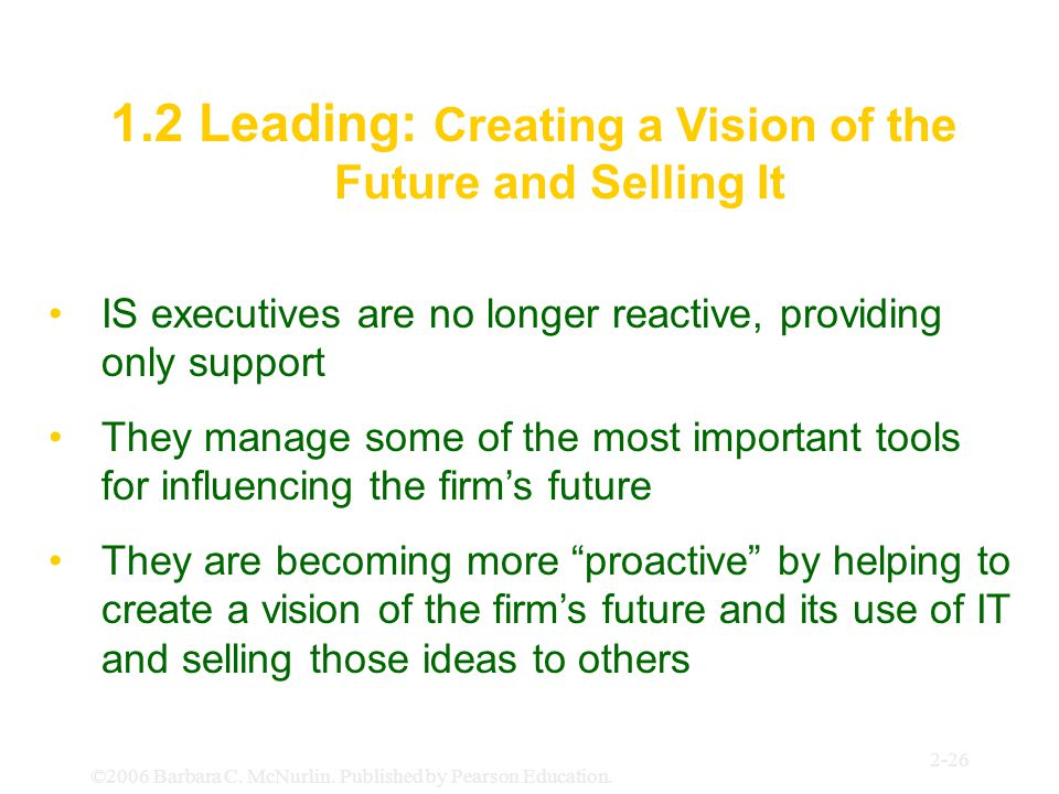 1.2 Leading: Creating a Vision of the Future and Selling It