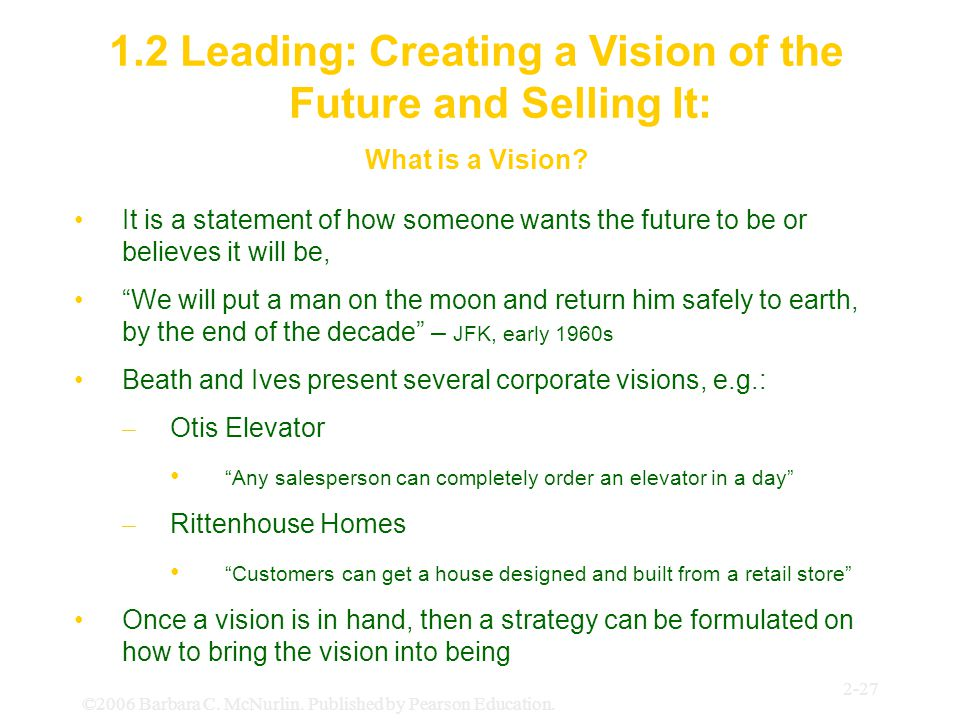 1.2 Leading: Creating a Vision of the Future and Selling It: