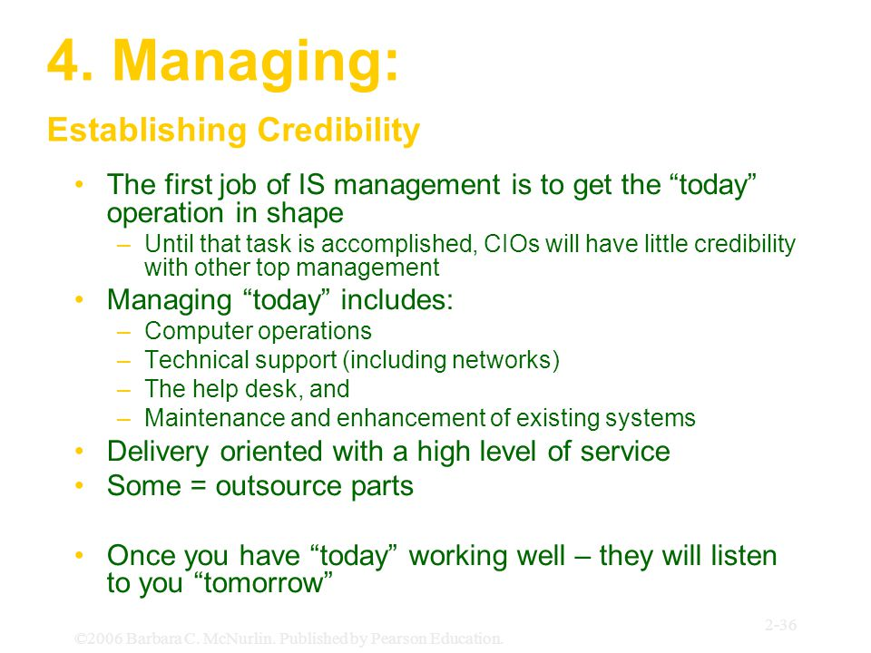 4. Managing: Establishing Credibility