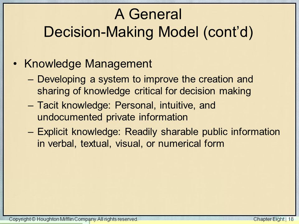 A General Decision-Making Model (cont'd)