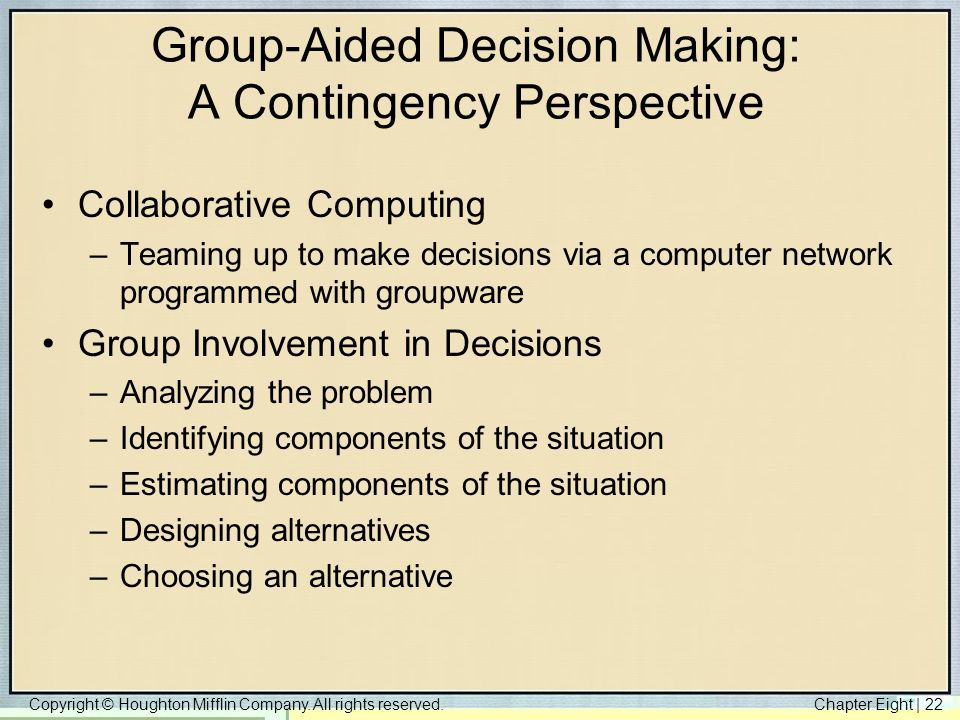 Group-Aided Decision Making: A Contingency Perspective