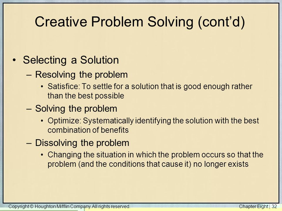 Creative Problem Solving (cont'd)