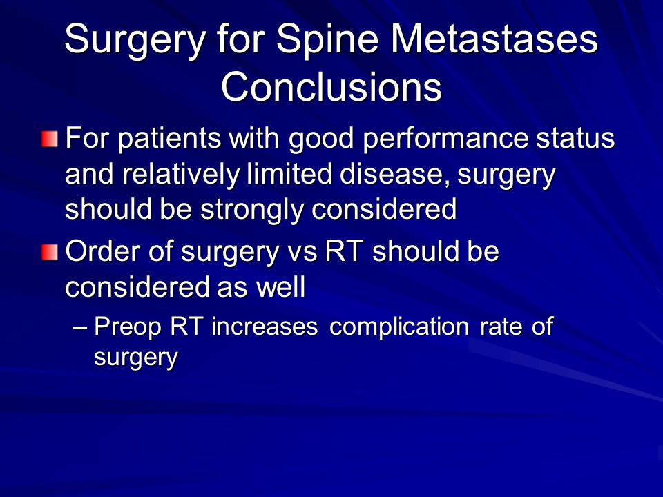 Surgery for Spine Metastases Conclusions