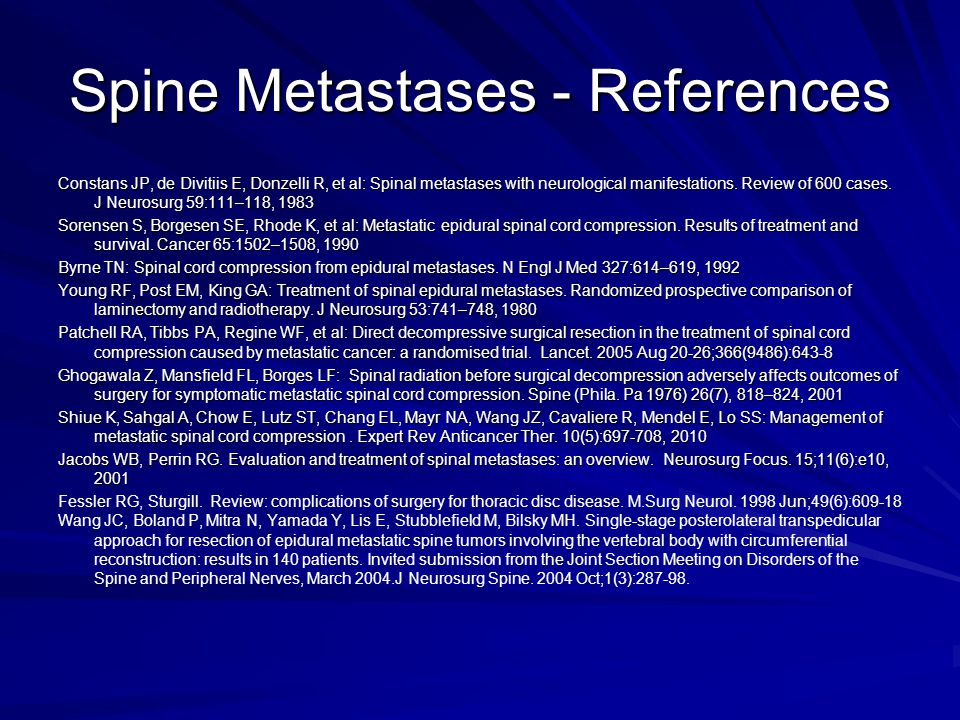 Spine Metastases - References
