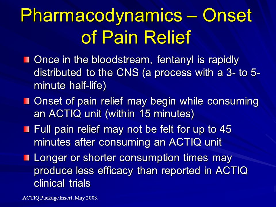 Pharmacodynamics – Onset of Pain Relief
