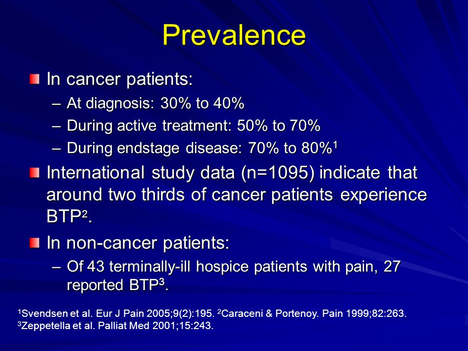 Prevalence In cancer patients: