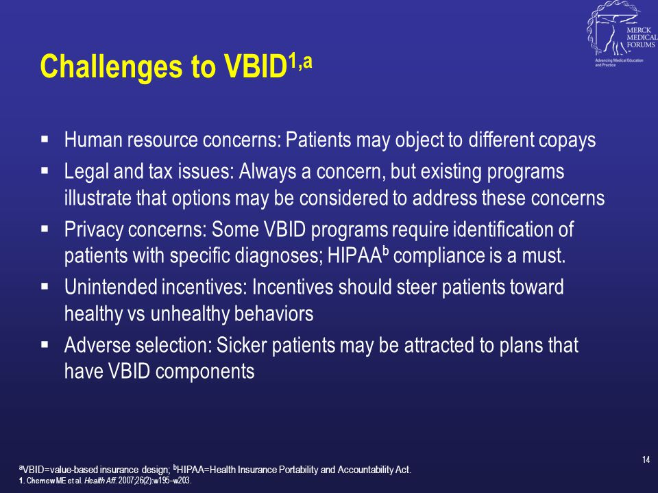 Challenges to VBID1,a Human resource concerns: Patients may object to different copays.