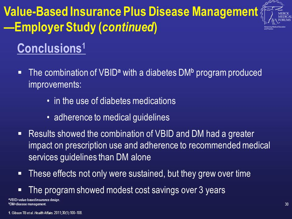 Value-Based Insurance Plus Disease Management —Employer Study (continued)
