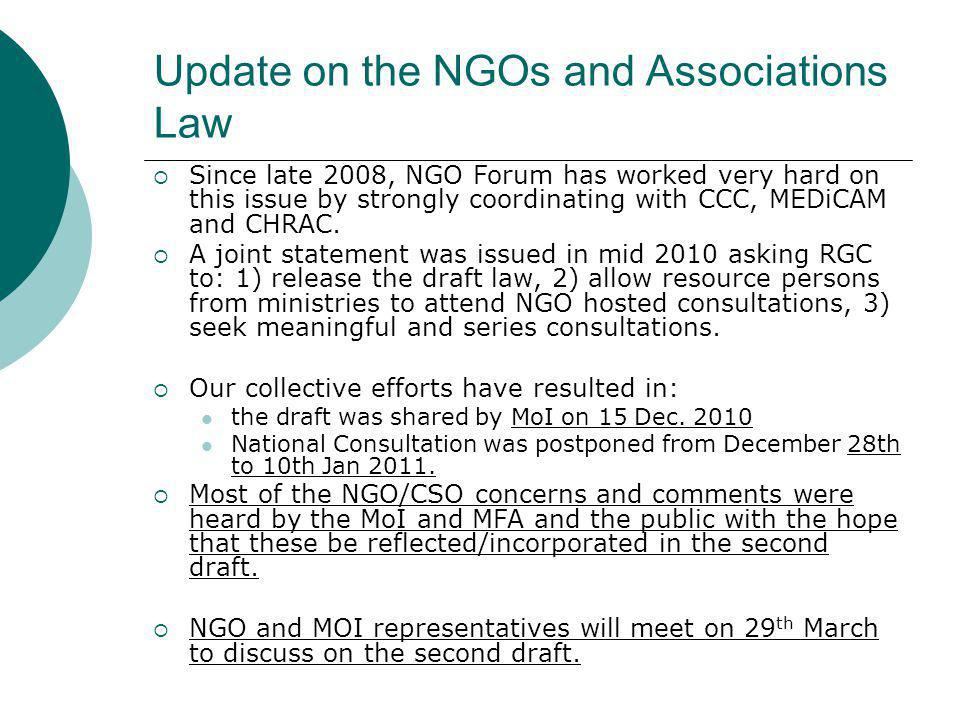Update on the NGOs and Associations Law