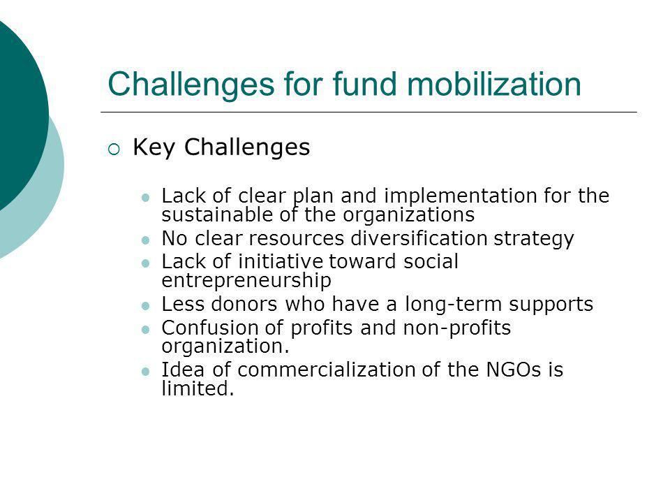 Challenges for fund mobilization