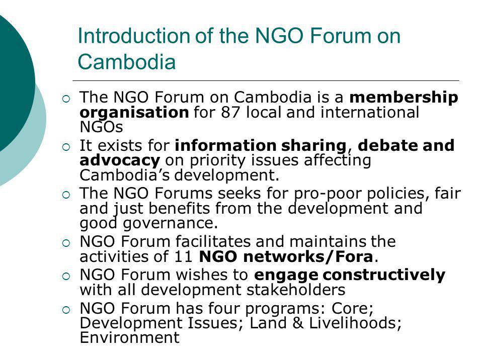 Introduction of the NGO Forum on Cambodia