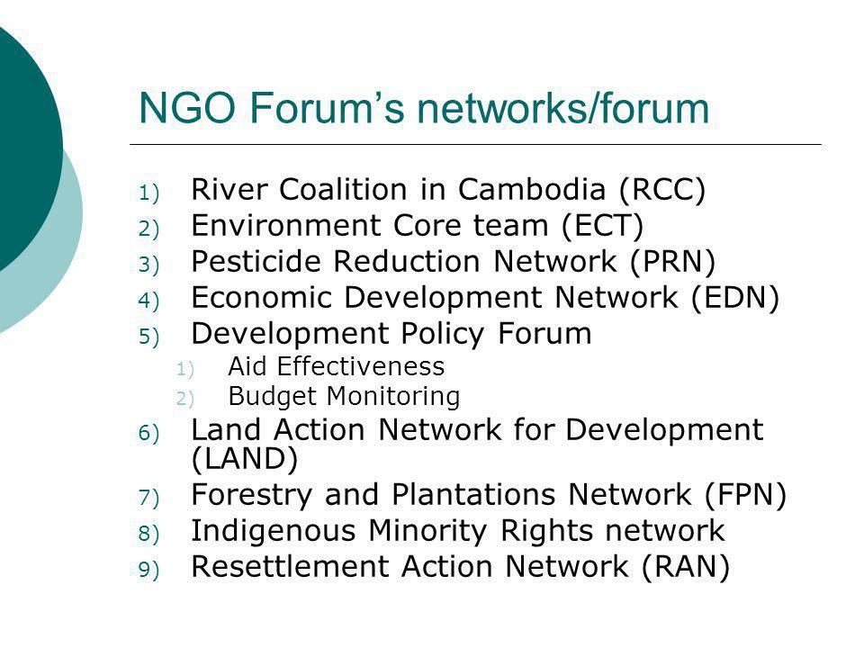 NGO Forum's networks/forum