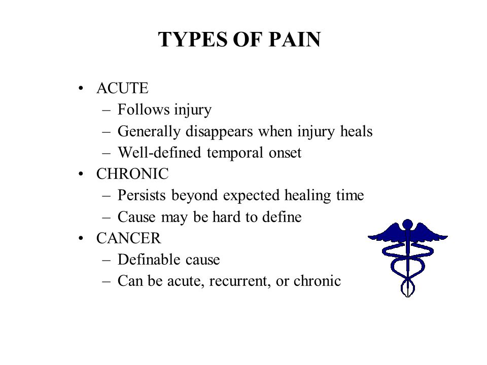 TYPES OF PAIN ACUTE Follows injury