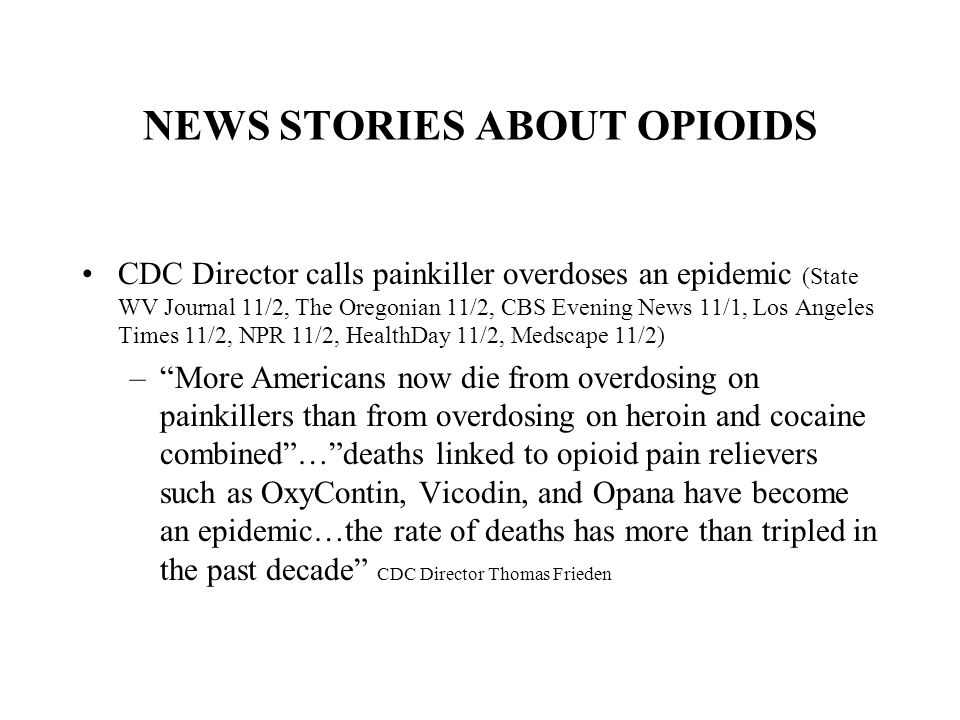 NEWS STORIES ABOUT OPIOIDS