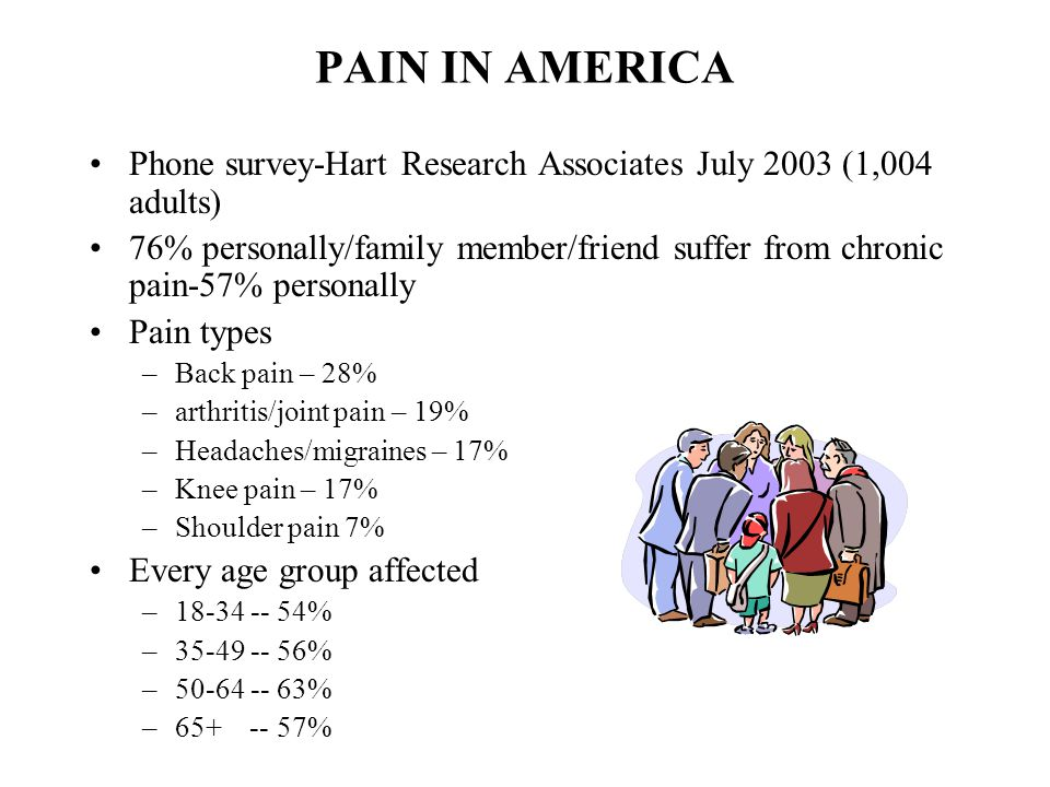 PAIN IN AMERICA Phone survey-Hart Research Associates July 2003 (1,004 adults)