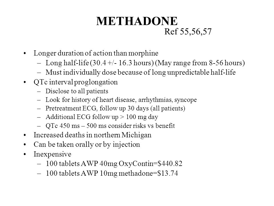 METHADONE Ref 55,56,57 Longer duration of action than morphine