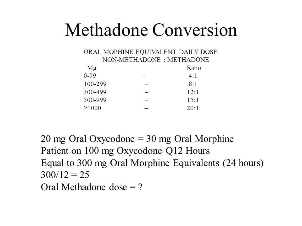Methadone Conversion 20 mg Oral Oxycodone = 30 mg Oral Morphine