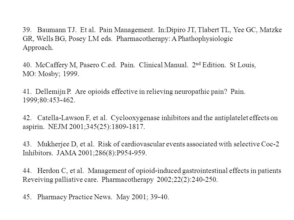 Baumann TJ. Et al. Pain Management