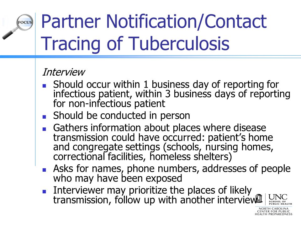 Partner Notification/Contact Tracing of Tuberculosis