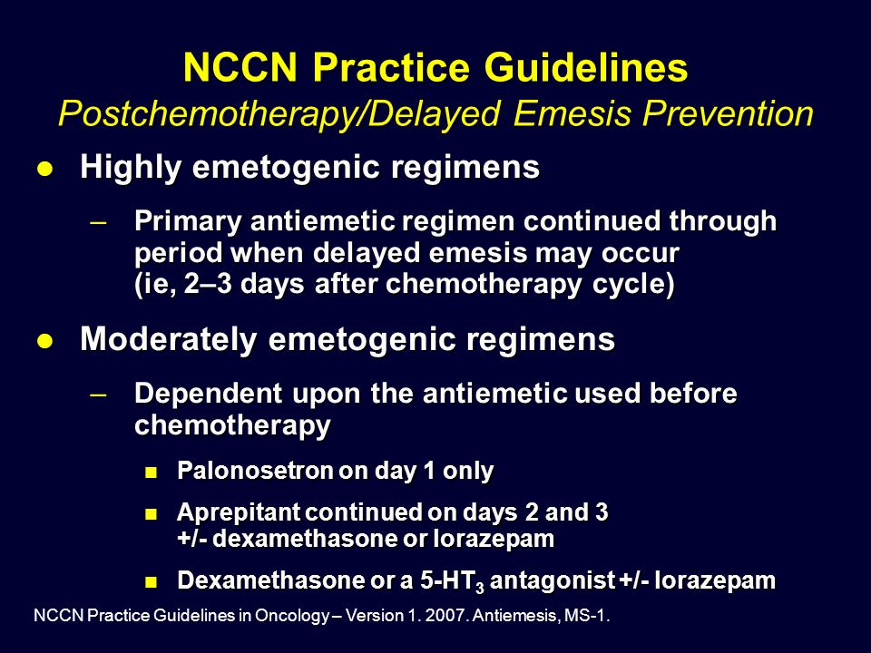 NCCN Practice Guidelines Postchemotherapy/Delayed Emesis Prevention