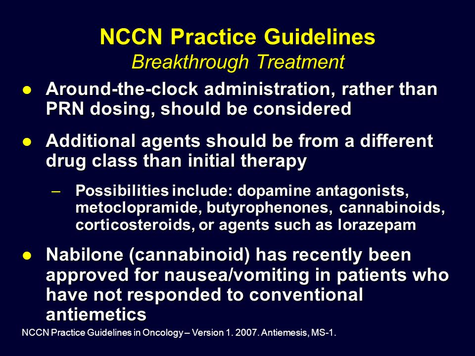 NCCN Practice Guidelines Breakthrough Treatment