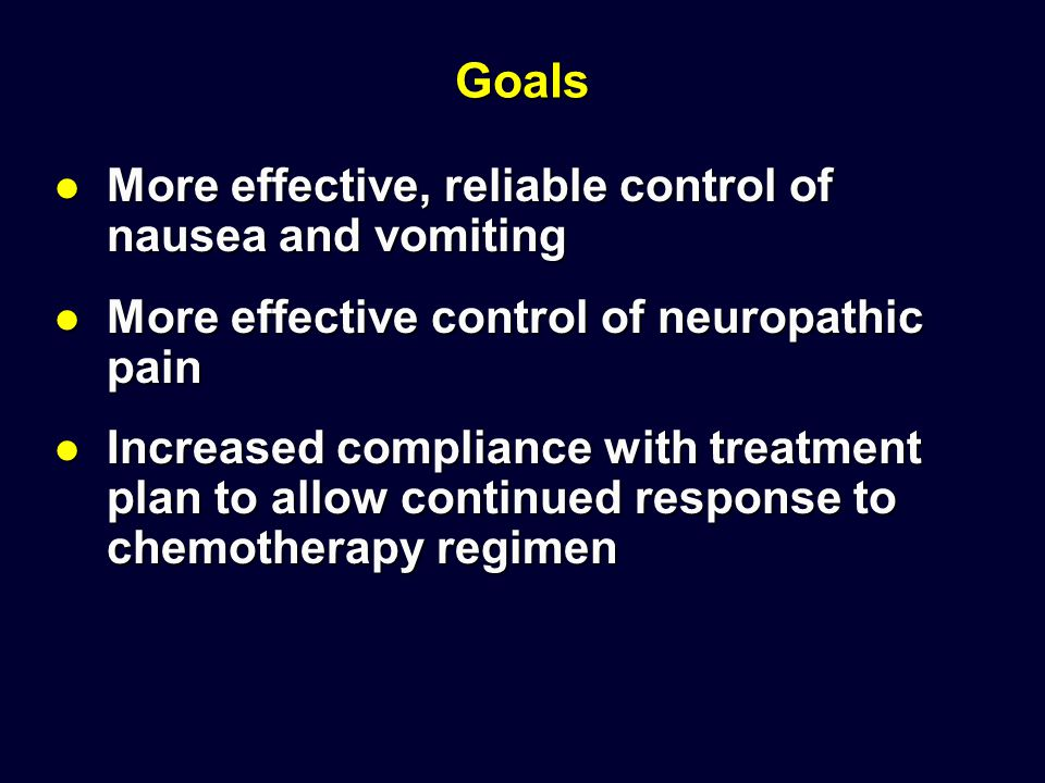 Goals More effective, reliable control of nausea and vomiting