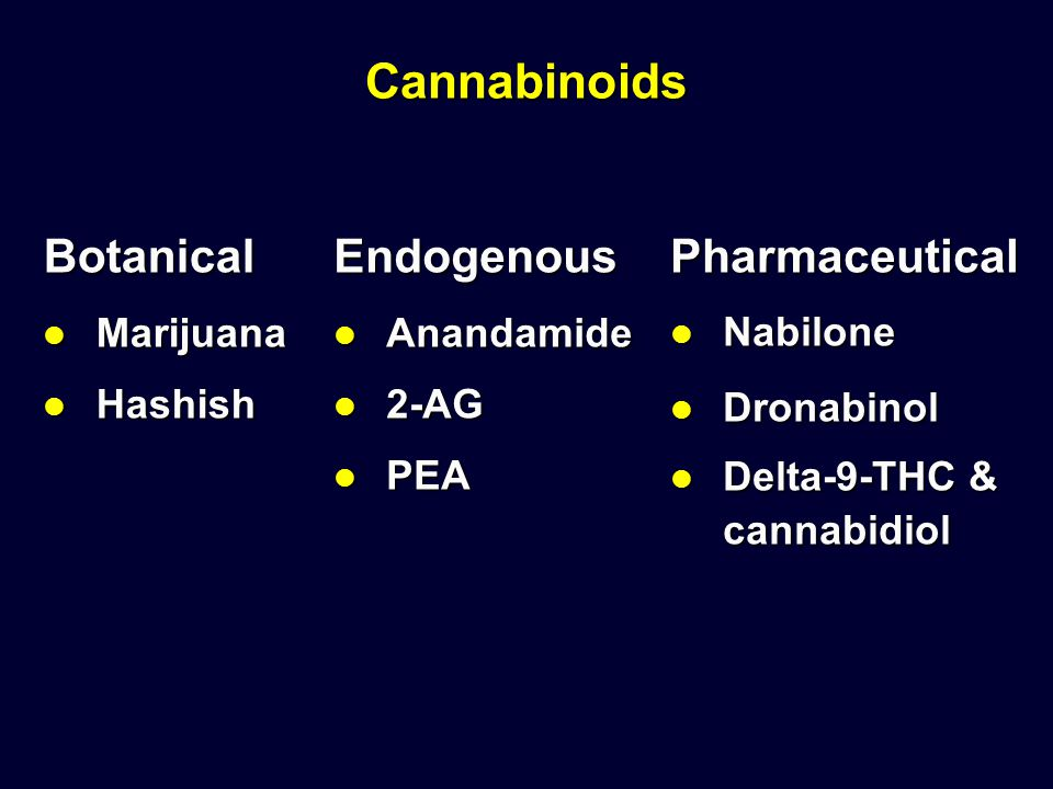 Cannabinoids Botanical Endogenous Pharmaceutical Marijuana Hashish