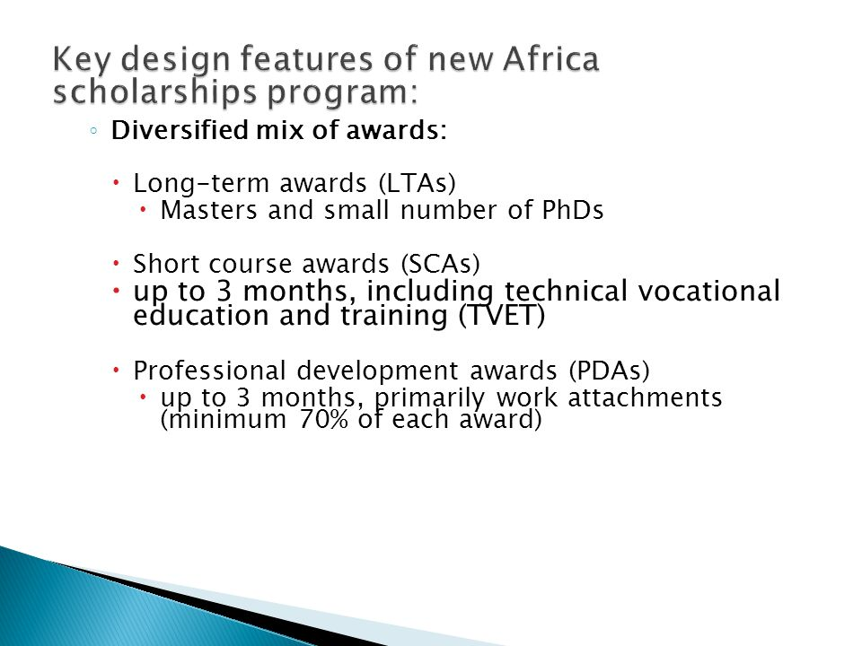 Key design features of new Africa scholarships program: