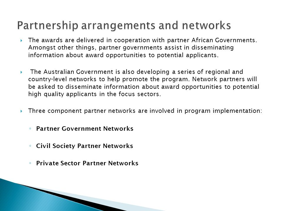 Partnership arrangements and networks