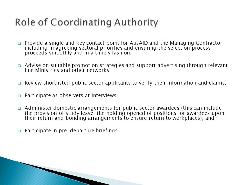 Role of Coordinating Authority