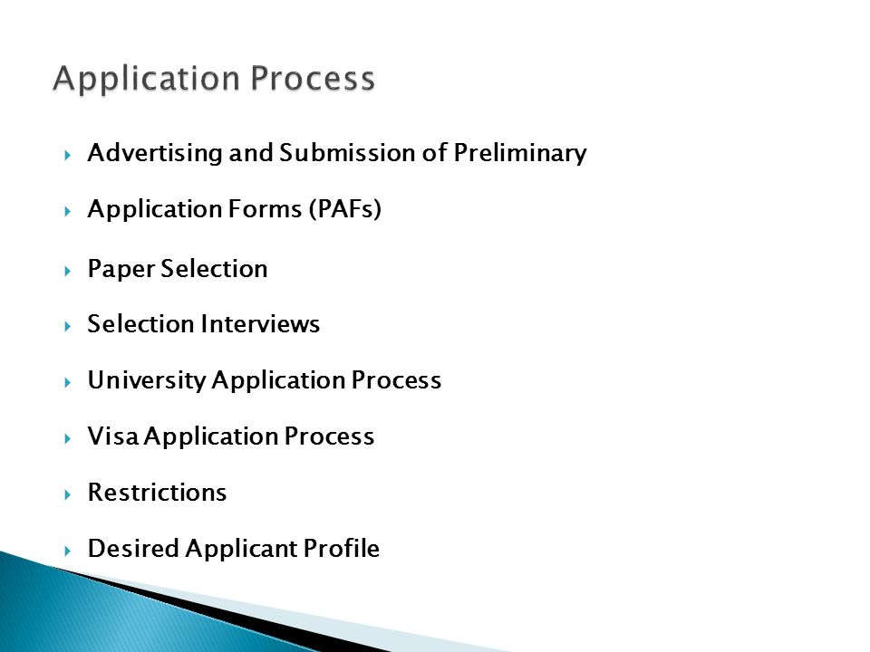 Application Process Advertising and Submission of Preliminary