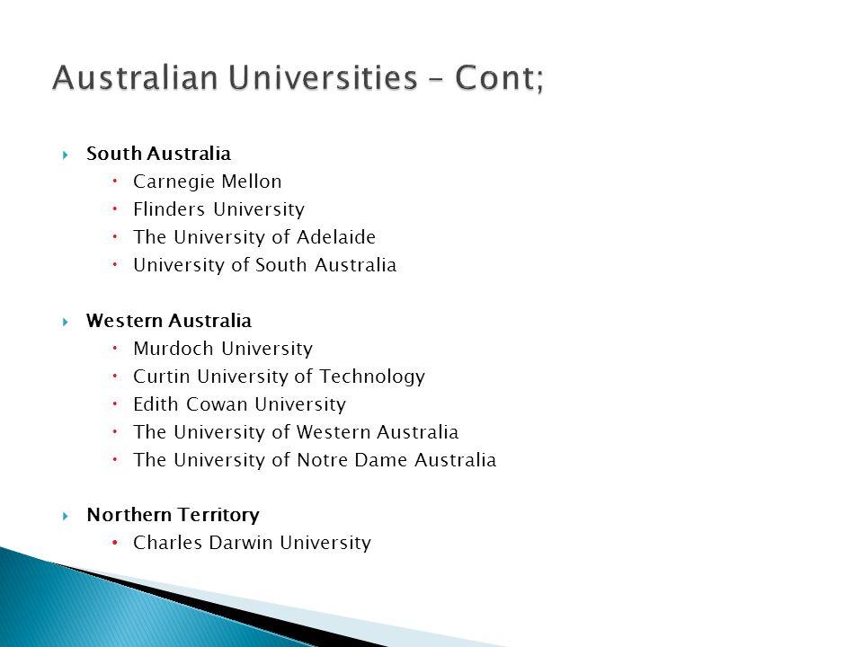 Australian Universities – Cont;
