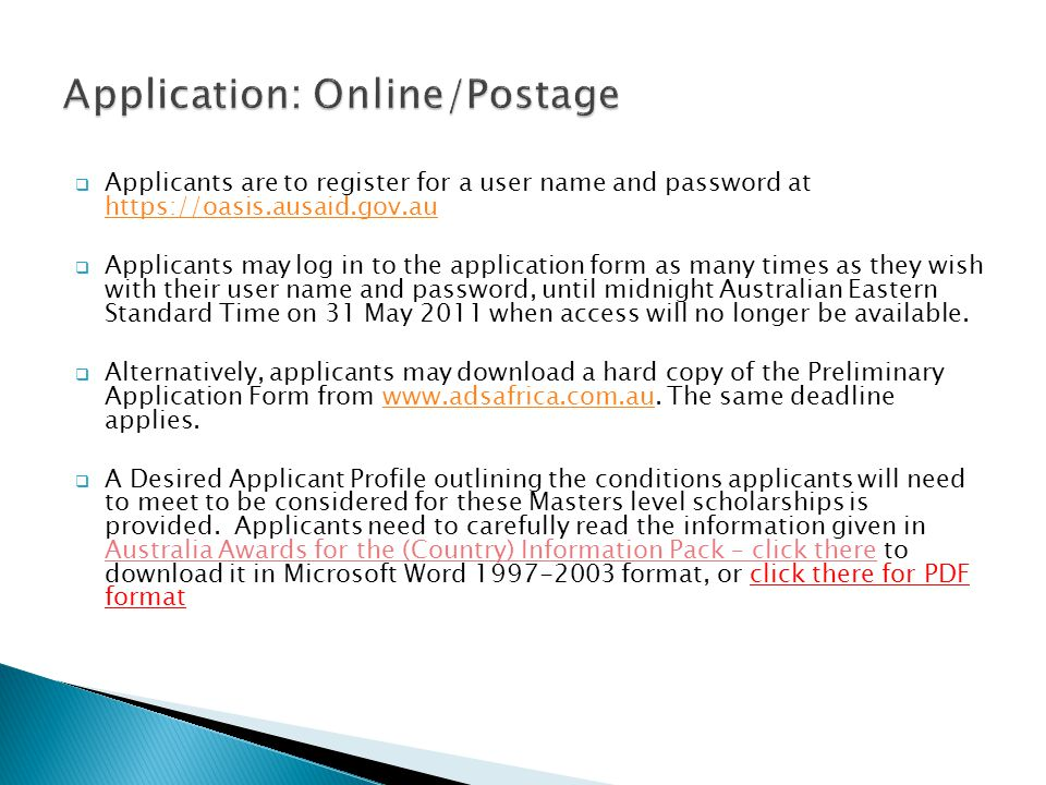 Application: Online/Postage