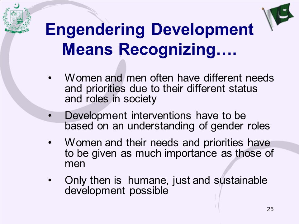 Engendering Development Means Recognizing….