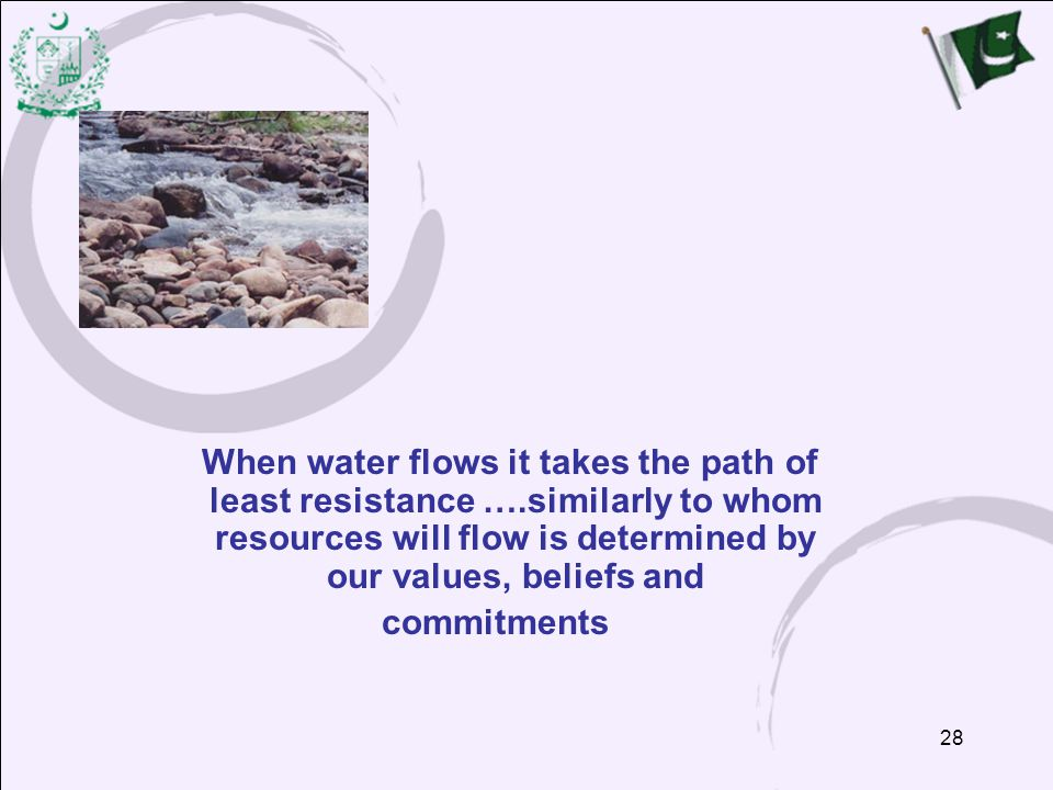 When water flows it takes the path of least resistance …