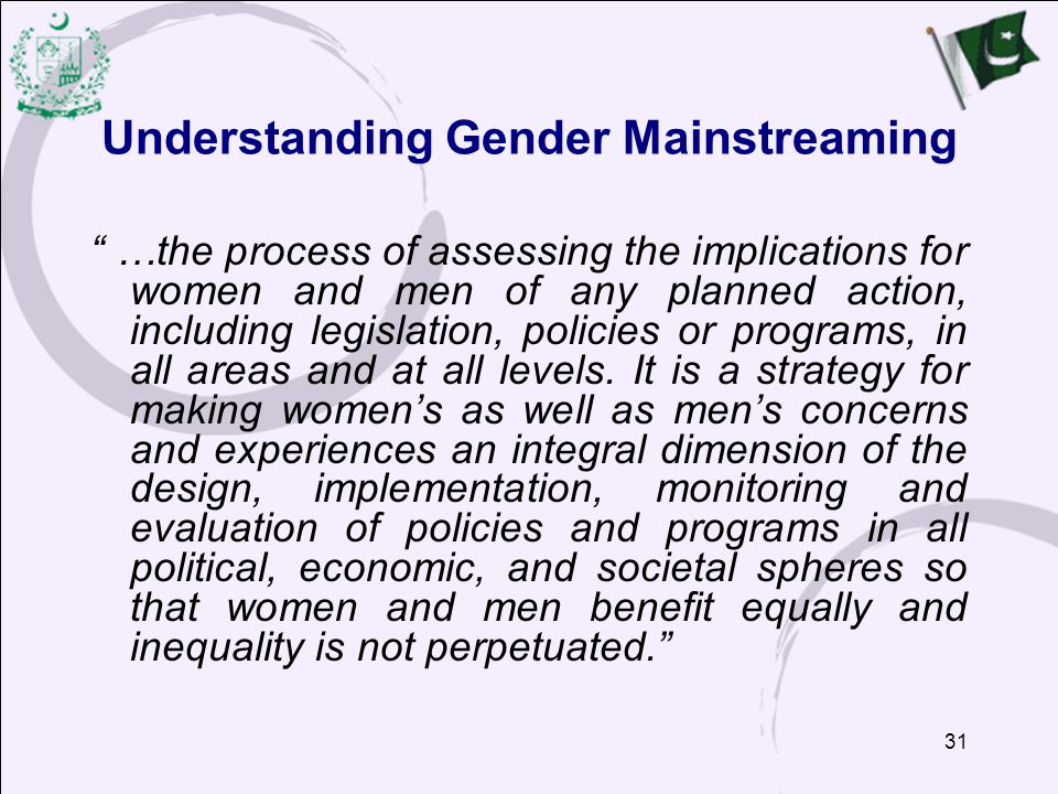 Understanding Gender Mainstreaming