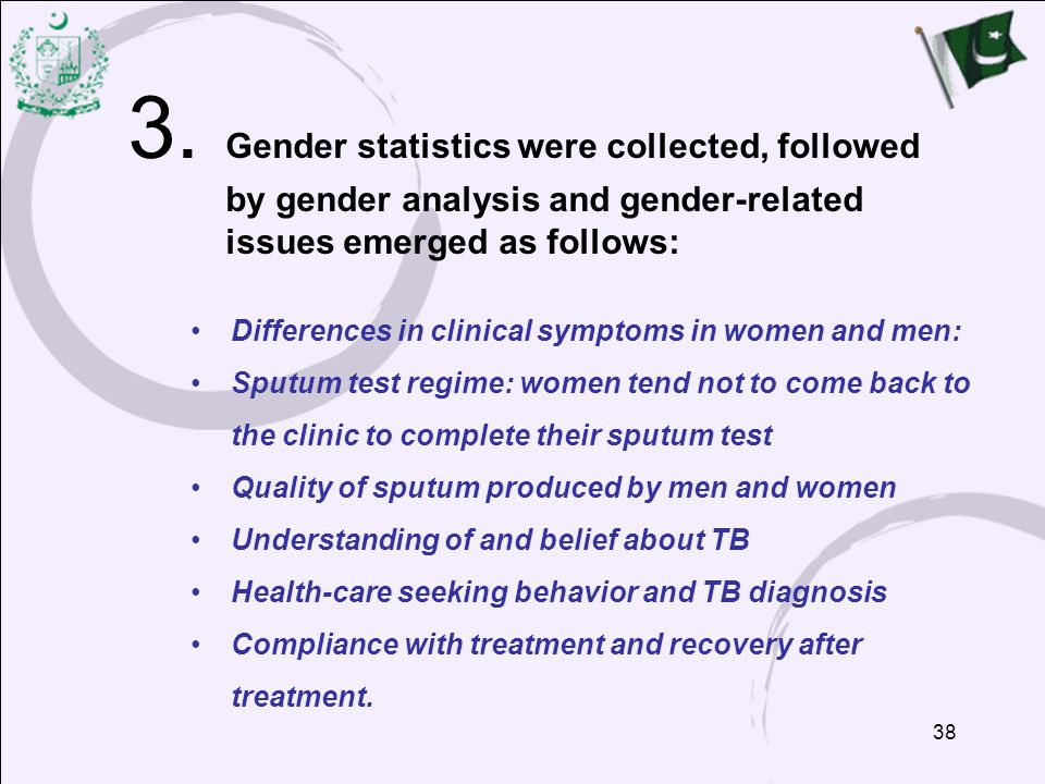 3. Gender statistics were collected, followed by gender analysis and gender-related issues emerged as follows: