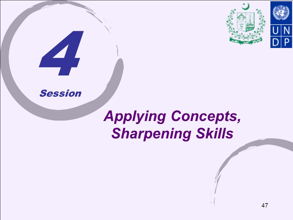 4 Applying Concepts, Sharpening Skills Session