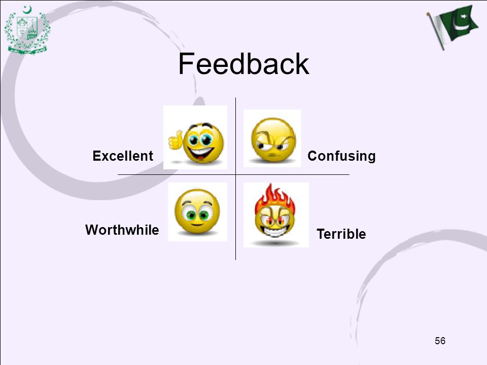 Feedback Excellent Confusing Worthwhile Terrible