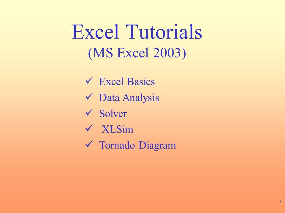 Excel Tutorials (MS Excel 2003)