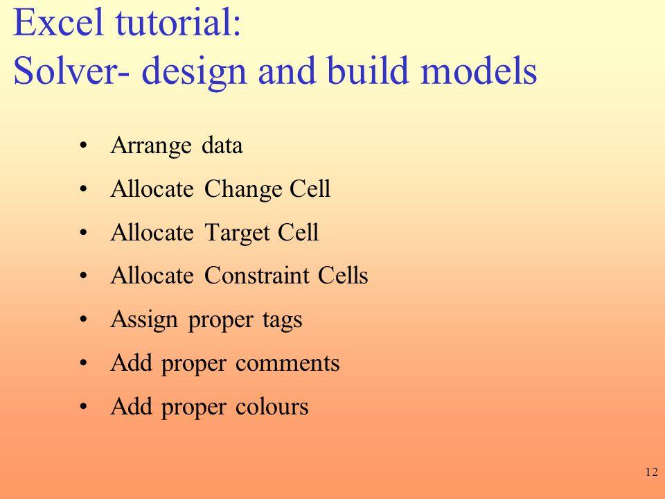 Solver- design and build models