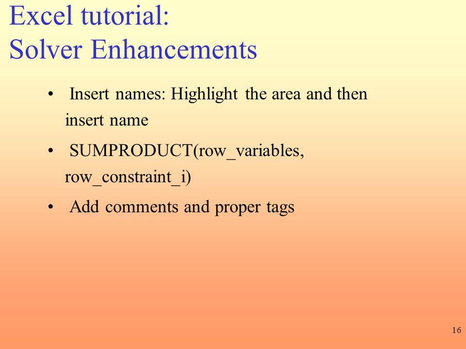 Excel tutorial: Solver Enhancements
