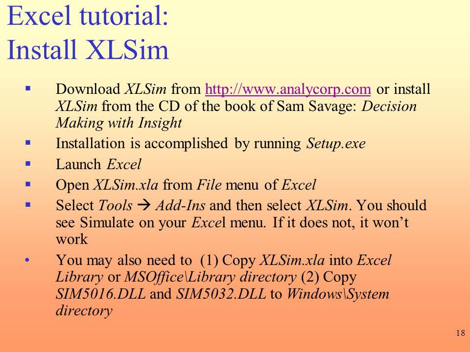 Excel tutorial: Install XLSim