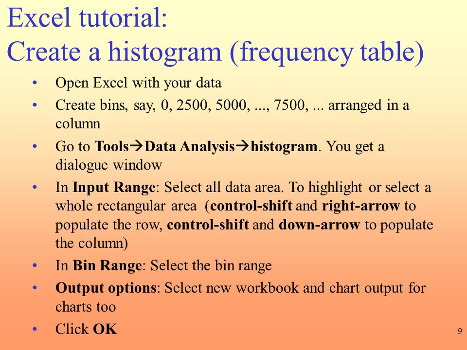 Excel tutorial: Create a histogram (frequency table)