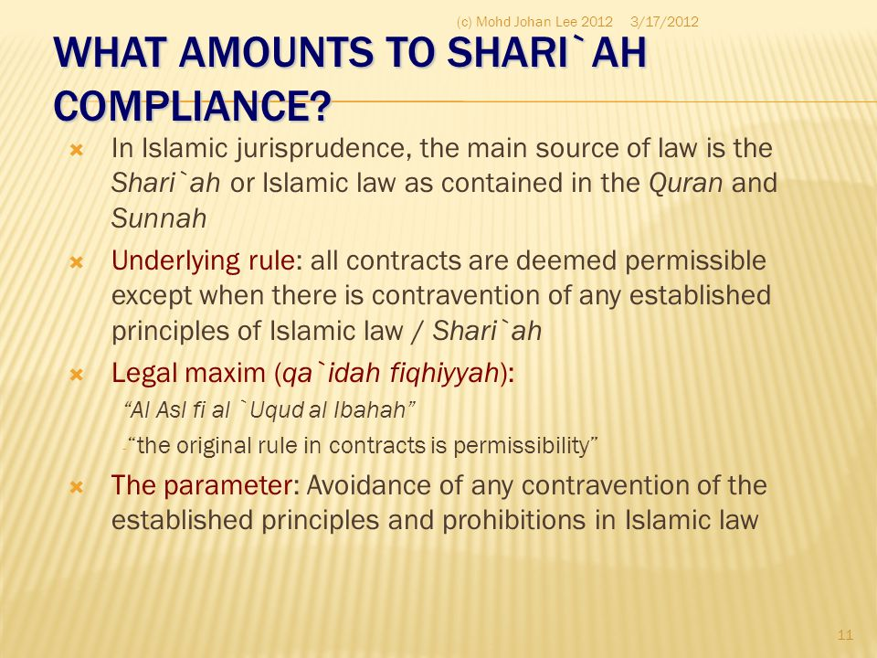 WHAT AMOUNTS TO SHARI`AH COMPLIANCE