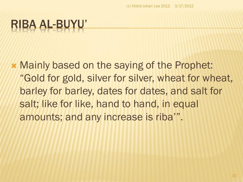(c) Mohd Johan Lee 2012 3/17/2012. Riba al-Buyu'