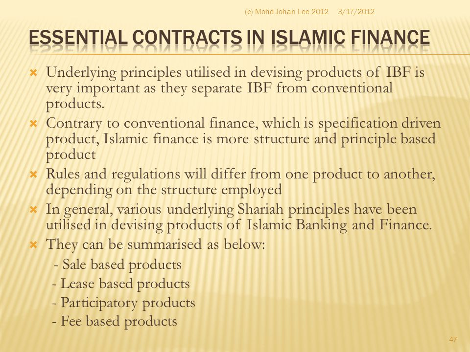 Essential Contracts in Islamic Finance