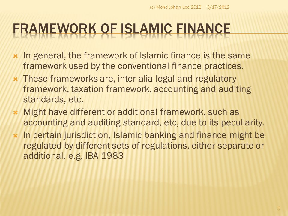 Framework of Islamic Finance