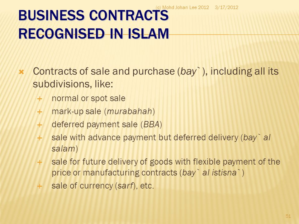 BUSINESS CONTRACTS RECOGNISED IN ISLAM