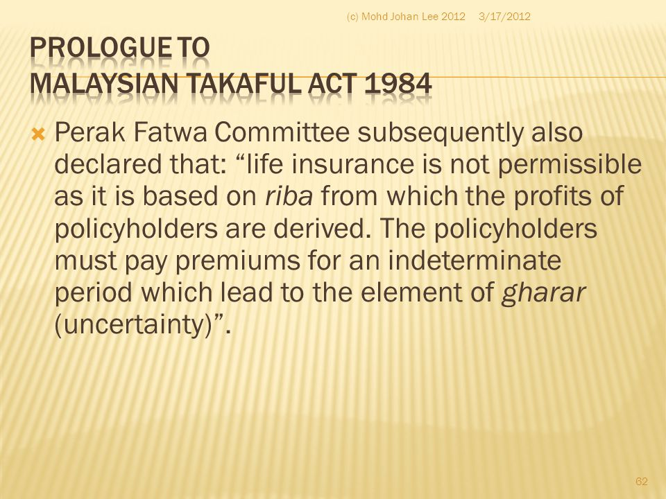 Prologue to Malaysian Takaful Act 1984